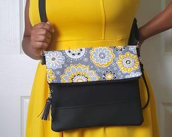 Yellow Crossbody Bag, Crossbody Purse, Floral Crossbody, Crossbody Strap, Faux Leather, Clutch Bag, Crossbody Handbag, Mothers day gift