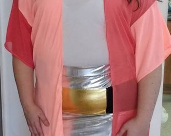 Plus size Pink two tone knee length kimono, beach wear, casual wear, nightwear Size's 10-28 sheer and block colour chiffon.