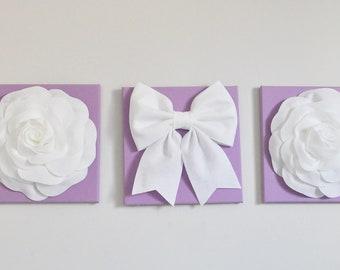 "Wall Art -Rose Flower SET of THREE White Roses and Bow on Lilac 12 x12"" Canvas Wall Art - 3D Felt Flower- Purple Nursery Decor"