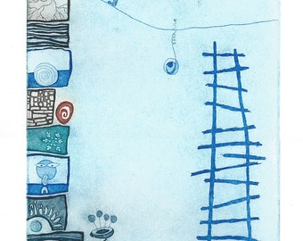 """Heike Roesel """"Up"""",fine art etching in edition of 25 (in variation)"""