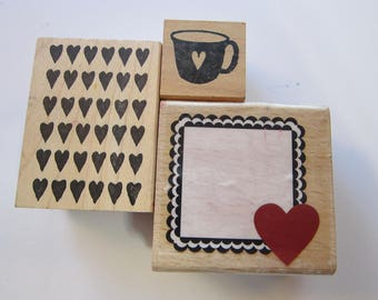 3 rubber stamps - HEARTS, heart frame, heart background, heart coffee mug - used rubber stamps