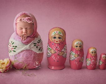 Babushka Doll - Matryoshka bub - Newborn Digital Backdrop - Poppet