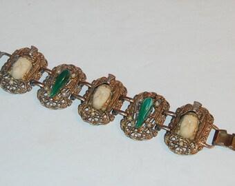 Selro Asian Oriental Princess Face Head Vintage Bracelet Chunky Unusual