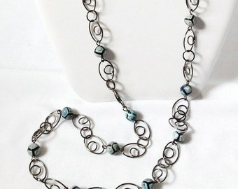 Rainstone Agate Necklace, Turquoise Necklace, Long Necklace, Gunmetal Chain Necklace, StrandzJewelry