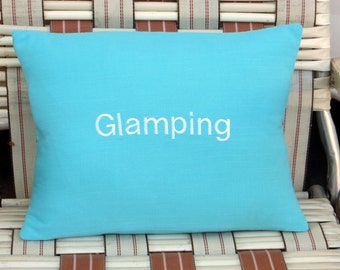 Glamping pillow cover, turquoise pillow cover,  camping pillow cover,  rv pillow cover