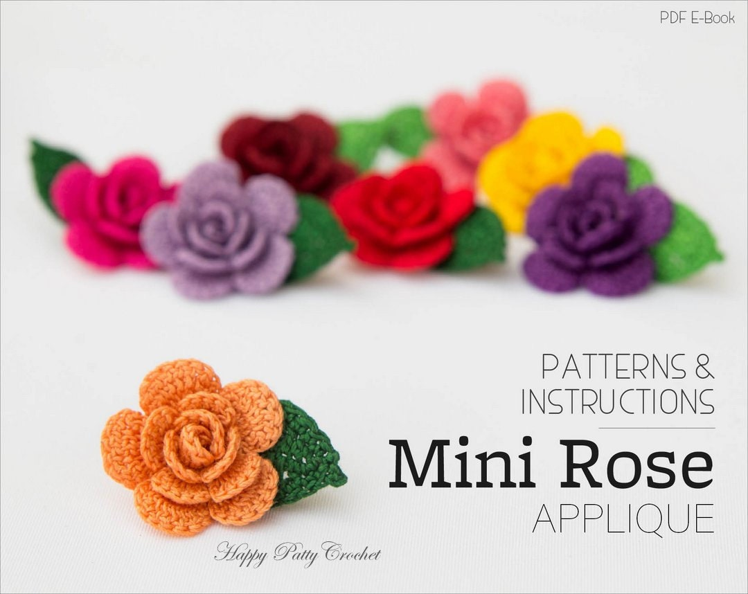 Crochet Mini Rose Pattern - Crochet Flower Applique Pattern - Easy ...