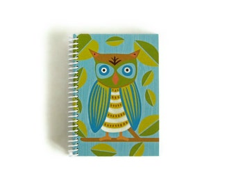 Owl Notebook A6 Spiral Bound - Back to School, Writing Diary Journal, Gifts Under 20, Blank Sketchbook, Pocket Pretty Notebook, 4x6 Inches