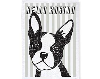 Hello Boston Terrier Tea Towel