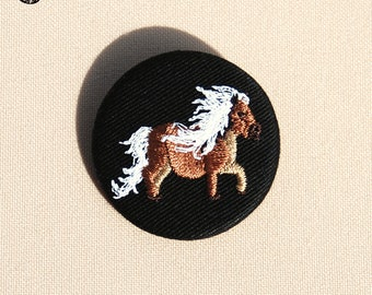Little Pony embroidered brooch with white mane
