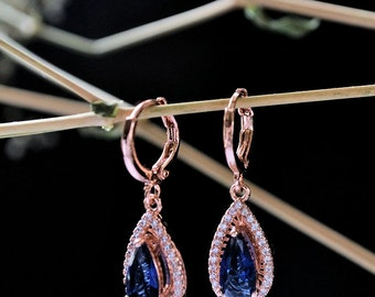 Bridal wedding earrings,  pink gold filled , Swarovski crystal