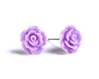 Petite purple violet mauve rose rosebud hypoallergenic stud earrings (728)