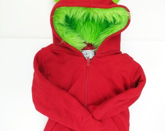 Toddler Monster Hoodie - Size 6T - Red with Lime green - horned sweatshirt, custom jacket, real simple magazine holiday gift guide