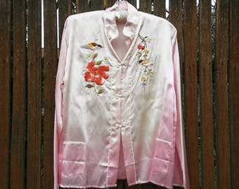 1950s Chinese embroidered ombre pajama top or jacket with frog closures // medium or large