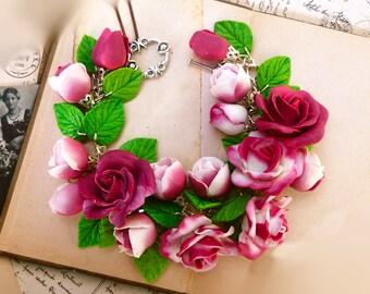 Roses bracelet Purple bracelet Colorful bracelet Gift for woman Flower bracelet Boho bracelet floral bracelet Women bracelet