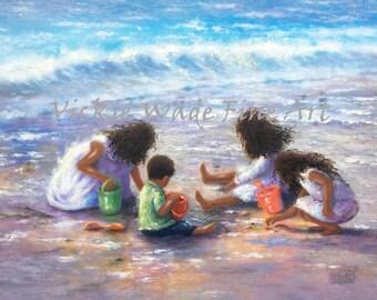 Four Beach Children Art Print, african american children, black children, dark skin, latino children beach, three girls, boy, Vickie Wade