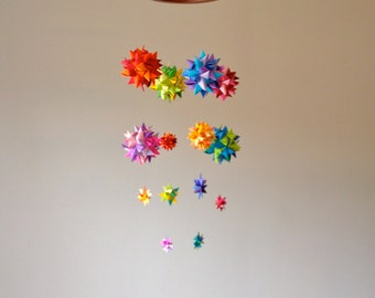 Baby Crib Mobile Hanging Origami Stars -'Lyra' Rainbow Spheres