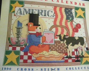 Cross Stitch Pattern Calendar With 12 Monthly Patterns - Keepsake Calendar 1990 Cross Stitch Collection