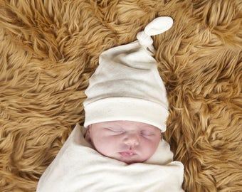 Baby Knot Hat - Natural Color Organic Cotton Hemp Jersey -  Eco Friendly  - Newborn - Baby Shower