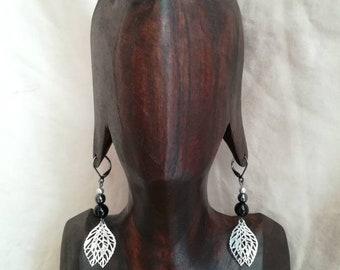 Dangle earrings black/stone gems Onyx / model Matrix