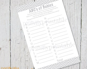 "ABC's of Babies Gray Chevron  Baby Shower Game - Printable 4 1/4"" x 8 1/2"""