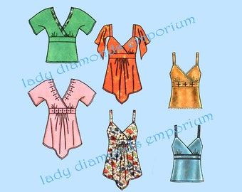 Simplicity 4317 Womens Empire Style Tops 6 Styles size 6 8 10 12 14 Babydoll Shirt Blouse Boho Bandanna Hem Option Sewing Pattern Uncut FF