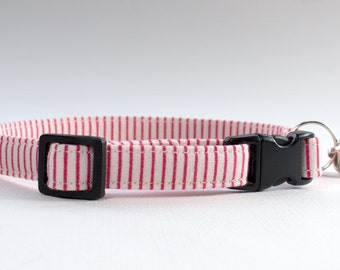 Boy Cat Collar, Stripe Cat Collar, Girl Cat Collar, Collar with Bell, Fabric Cat Collar, Pet Accessory, Gift for Cat, Tilda Fabric, Red Cat