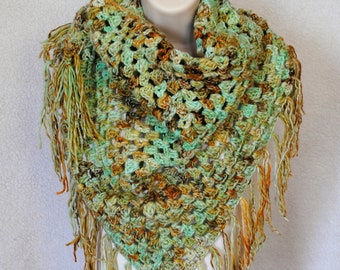 Hand spun merino wool/colorway raw turquoise/crochet granny stitch shawl/wrap/cowl/scarf