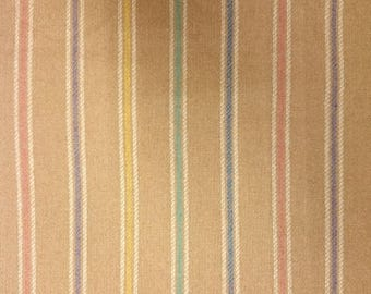 """1 Yd + 17"""" x 60"""" Wide Camel Wool Suiting Fabric With Vertical Pastel Stripe"""