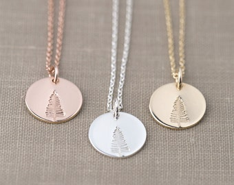 Hand Stamped Tree Necklace | Wanderlust Nature Inspired Jewelry | Gift for Nature Lover | Woodland Jewelry