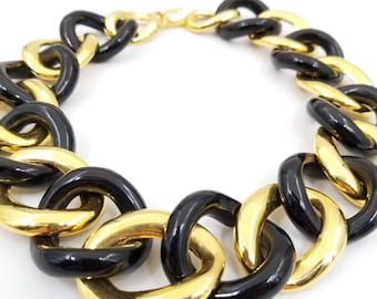 Signed Kenneth Jay Lane Black and Gold Tone Circle Link Wide Necklace, Chunky Large Gold and Black Choker Designer Signed