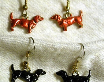 Hand Painted Dachshund  Earrings in Red or Black/  Hypoallergenic