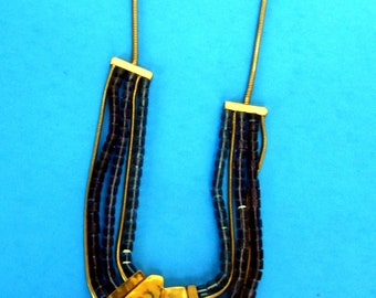 Hand Crafted Drop Necklace Purple Beads and Gold Chain and Gold Pendant - Jewelry