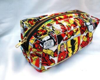 Toiletry Bag - Comic Book Iron Man - Team Iron Man- Groomsman Gift- School Supplies - Pencil and Electronics case-  Graduation Gift