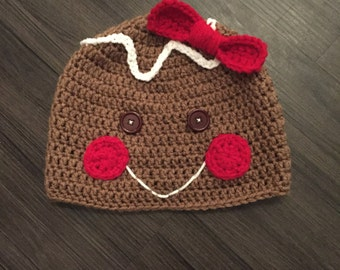 Gingerbread woman hat, crochet gingerbread hat, gingerbread man, christmas hat, stocking stuffer
