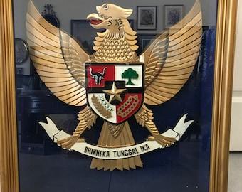 Indonesian Coat of Arms Garuda Pancasila 3D Shadow Box