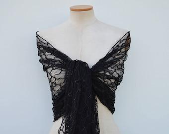 Black Lace shawl, lace stole chic Black Lace stole chic black, black shawl, black evening stole, black shoulder wrap, cover-up