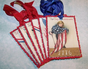 4th of July Fourth of July Americana Patriotic Red White and Blue Tags Vintage Style - Set of 6