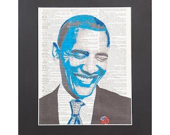 Vintage Dictionary Art Print | Barack Obama Portrait Graphic Manipulation with Sparks of Glitter 11''X14'' Mat