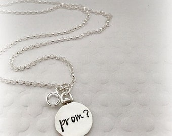 Prom Proposal Necklace - Hand stamped Jewelry - 2 sided Swivel Pendant - Monogrammed Jewelry - Personalized - Prom Jewelry - Graduation
