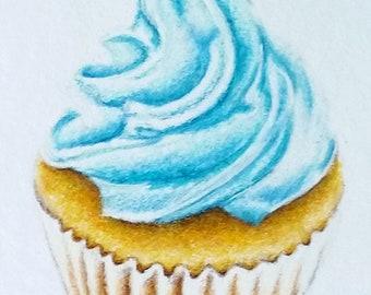 Original ACEO, Miniature Blue Cupcake Drawing, Foody Decor 2.5x3.5 Inch