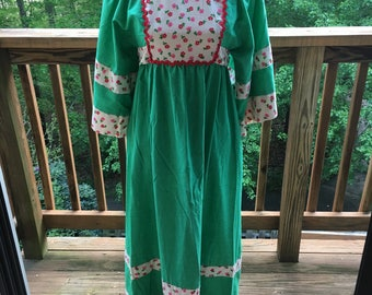 60's/70's Young Innocent by Arpeja Green Bell Sleeve Maxi Dress