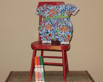 """Handmade 16 - 18 Inch Baby Doll Clothes ~ """"Play Time"""" Blue, Green, Pink & Orange Buttons and Zigzag Print Short Romper"""