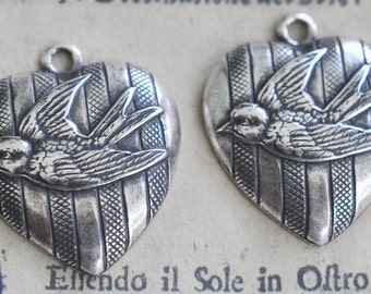 Two Neo Victorian heart charms with sparrow and stripes, Sterling Silver Finish
