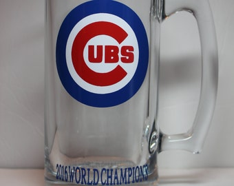 CHICAGO CUBS 2016 World Series Champions Personalized 28 oz Glass Beer Mug perfect for Christmas, Birthday or any occasion!