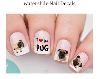 Pug Love Nail Art  Nail Art Decals