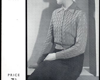 Patons and Baldwins' Help to Knitters3/463, Lady's Cardigan Knitting Pattern, 1930s