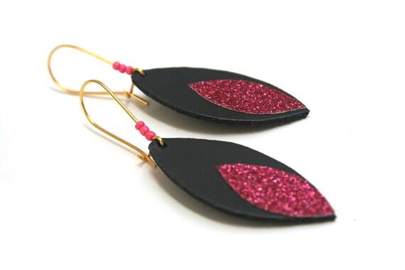 Glitter and leather, black sequin shuttle earrings roses