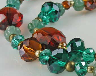 Amber, Teal and Greens Crystal Necklace