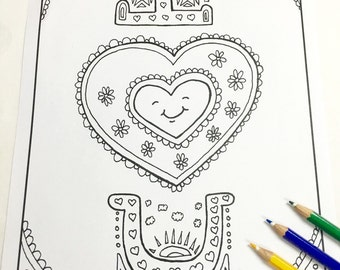 I Love You Coloring page ( Valentines day Adult coloring page Zendoodle Art Therapy Adult coloring book Printable coloring page )