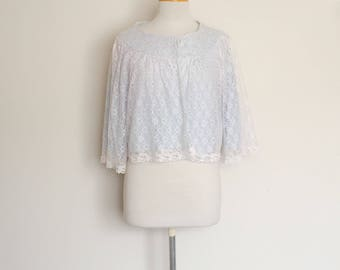 1960s Blue & White Lace Bed Jacket Vintage